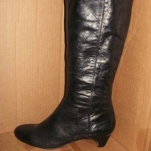 Lands End women's black leather knee high boot